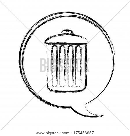 blurred contour dialogue box with silhouette metal trash bin vector illustration