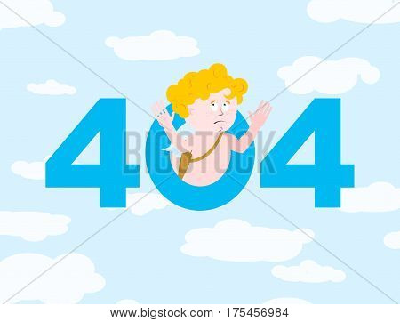 Error 404. Cupid Surprise. Page Not Found Template For Web Site. Little Angel Does Not Know And Is S