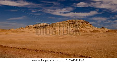 Desert with mountains and blue sky. Ras Muhammad National Park Sinai Egypt