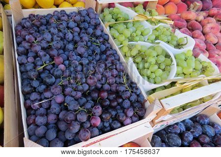 Black grape and green grape at the market in Bar-city, Montenegro