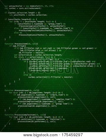 Abstract background with program code. Programming and coding technology background. Program listing. Vector illustration.