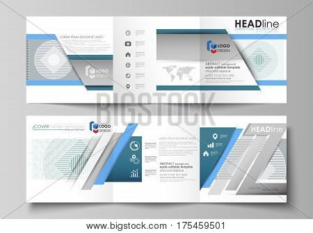 Set of business templates for tri fold square design brochures. Leaflet cover, abstract flat layout, easy editable vector. Minimalistic background with lines. Gray color geometric shapes forming simple beautiful pattern.