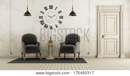 Retro Living Room With Two Black Armchair,