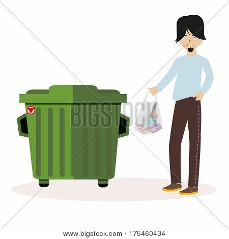 The guy throws the waste package into the garbage can. Flat character isolated on white background. Vector, illustration EPS10