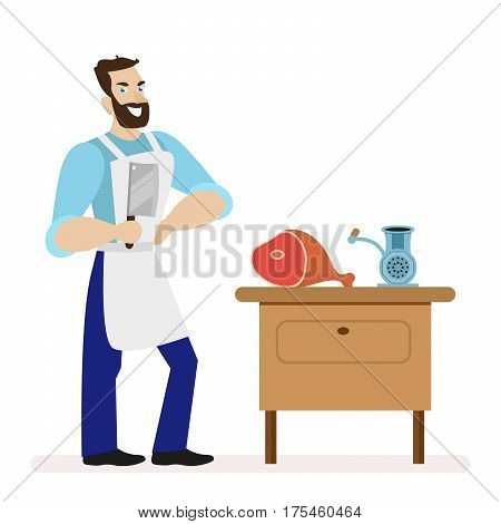 Butcher with a kitchen knife for cutting meat is near the table with a meat grinder. Flat character isolated on white background. Vector, illustration EPS10