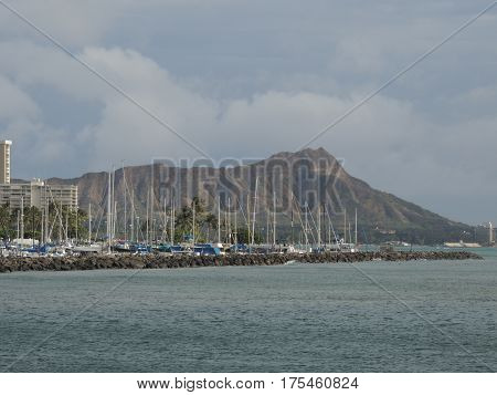 View of Diamondhead from the Ala Wai boat harbor