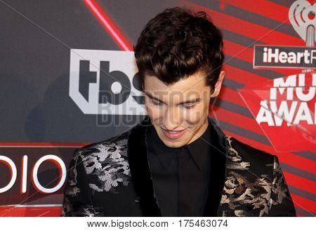 Shawn Mendes at the 2017 iHeartRadio Music Awards held at the Forum in Inglewood, USA on March 5, 2017.
