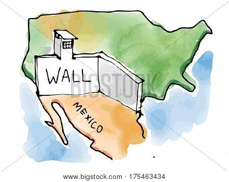 Mexico USA wall by trump, watercolor drawing