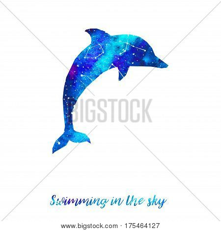 Silhouette of dolphin. Starry sky with different constellations. Hand draw watercolor. Card. Swimming in the sky.
