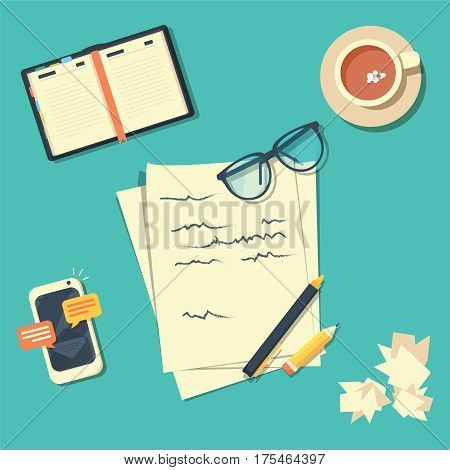 Writer workplace vector illustration isolated on green background, flat cartoon paper sheets on working table with text, pen and pencil, top view desktop with writing letter