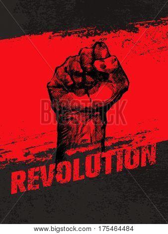 Revolution Social Protest Creative Grunge Vector Concept. Freedom Illustration on Rough Grunge Background.