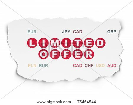 Business concept: Painted red text Limited Offer on Torn Paper background with  Currency