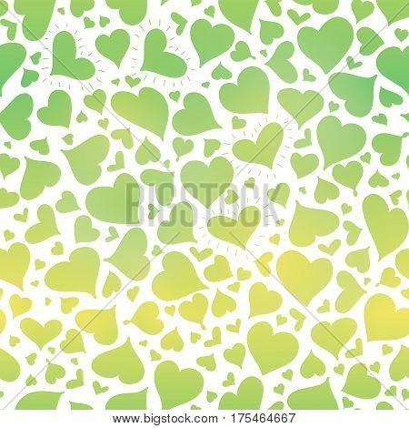 Vector Green Gradient Hearts Seamless Pattern Design Perfect for Valentine Day cards, fabric, scrapbooking, wallpaper. Textile design.