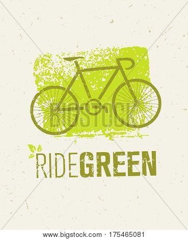 Ride Green Creative Eco Vector Bicycle Illustration on Recycled Paper Background.