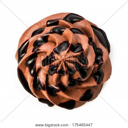 Chocolate frozen yogurt with chocolate sauce on white background with clipping path. Whipped cream. Mascarpone. Macro. Top view.