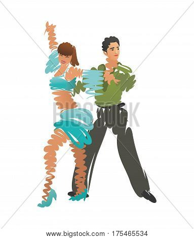 Man and woman are dancing. Vector illustration