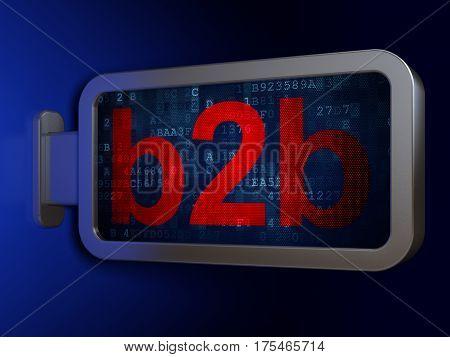 Finance concept: B2b on advertising billboard background, 3D rendering