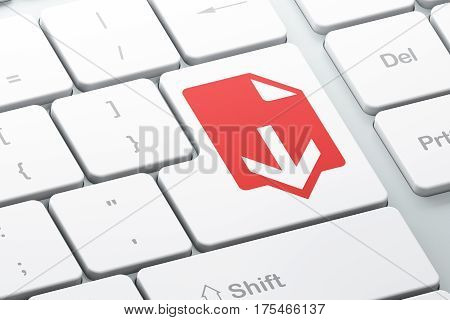 Web development concept: Enter button with Download on computer keyboard background, 3D rendering