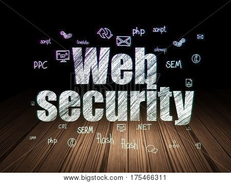 Web design concept: Glowing text Web Security,  Hand Drawn Site Development Icons in grunge dark room with Wooden Floor, black background