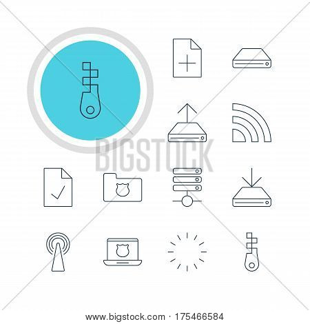 Vector Illustration Of 12 Network Icons. Editable Pack Of Router, Hdd Sync, Wireless Network And Other Elements.