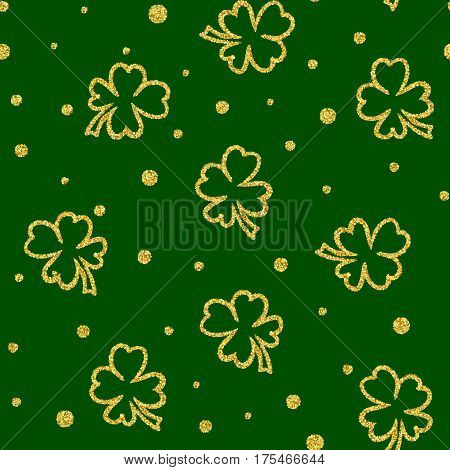 Seamless background with golden glitter clover for St. Patricks Day