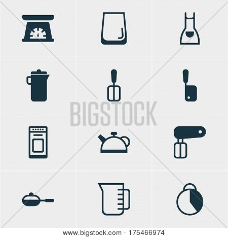 Vector Illustration Of 12 Cooking Icons. Editable Pack Of Teakettle, Oven, Measuring Tool And Other Elements.
