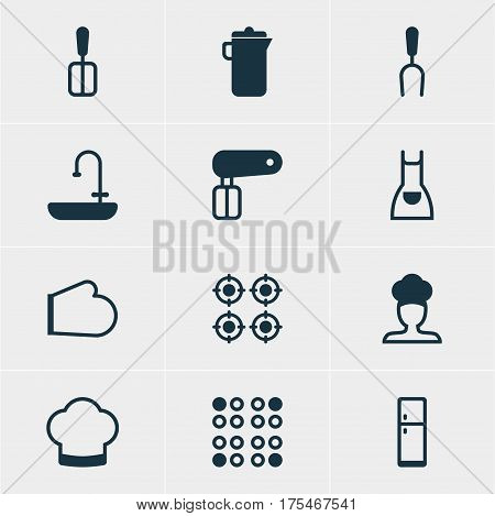Vector Illustration Of 12 Restaurant Icons. Editable Pack Of Furnace, Whisk, Jug And Other Elements.