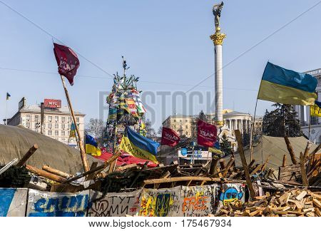 Kiev Ukraine - February 26 2014: Barricade in Kiev on Maidan Square during the revolution in the Ukraine.