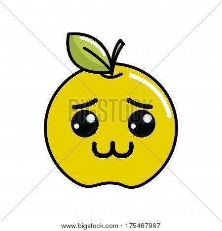 kawaii shy lemon fruit icon, vector illustraction design