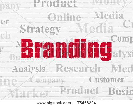 Marketing concept: Painted red text Branding on White Brick wall background with  Tag Cloud