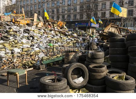 Kiev Ukraine - February 26 2014: Barricades with tires in Kiev on Maidan Square during the revolution in the Ukraine.