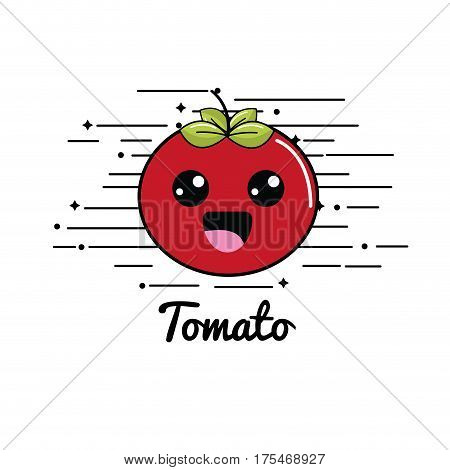 emblem kawaii shy tomato vegetable icon, vector illustraction design