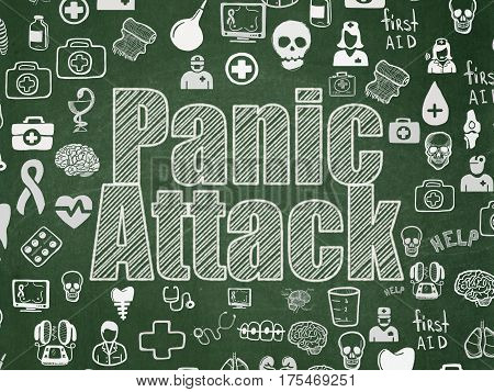 Health concept: Chalk White text Panic Attack on School board background with  Hand Drawn Medicine Icons, School Board