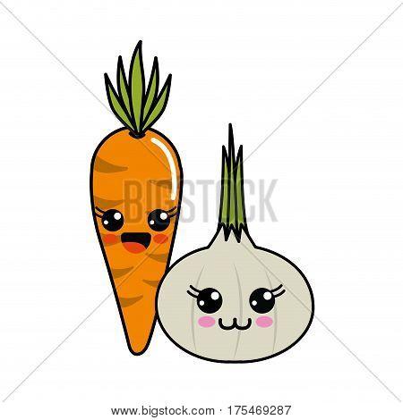 kawaii happy carrot and garlic icon, vector illustraction design