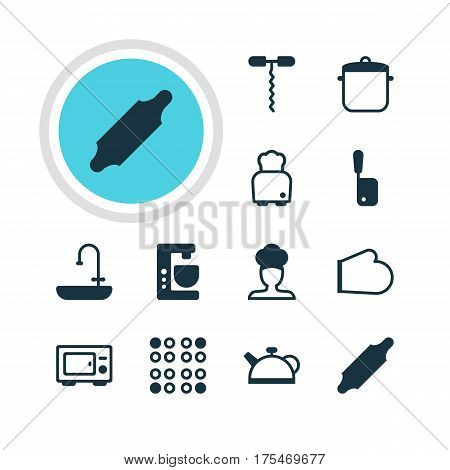 Vector Illustration Of 12 Kitchenware Icons. Editable Pack Of Butcher Knife, Teakettle, Oven Mitts And Other Elements.