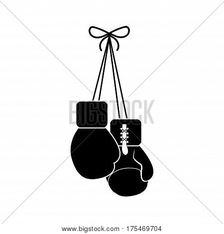 contour boxing gloves hanging icon, vector illustraction design