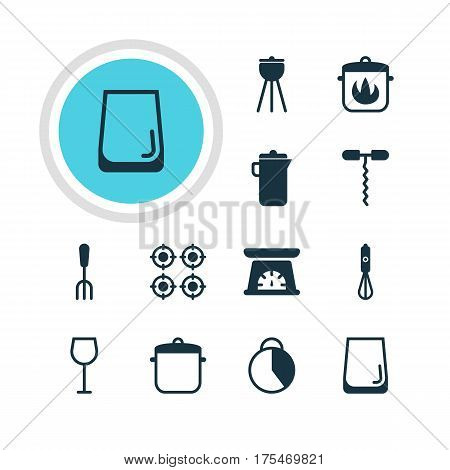 Vector Illustration Of 12 Kitchenware Icons. Editable Pack Of Stewpot , Handmixer, Measuring Tool Elements.