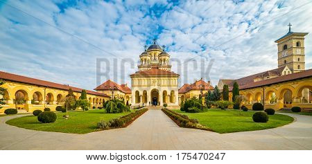 The Coronation Orthodox Cathedral and Saint Michael Roman Catholic Cathedral in Fortress Of Alba Iulia Transylvania Romania.