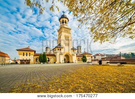 The Coronation Orthodox Cathedral and Roman Catholic cathedral in Fortress Of Alba Iulia Transylvania Romania.