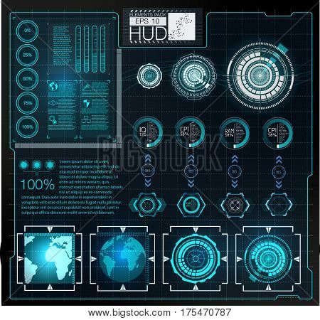 Futuristic user interface.HUD background outer space. Infographic elements. Digital data business abstract background. Infographic elements.
