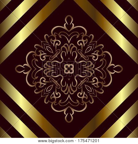 abstract oriental ornate openwork symmetrical pattern burgundy background gold bands of the rhombus shape