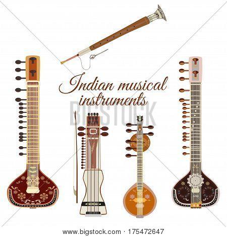 Vector set of indian musical instruments flat style. Sarangi sitar saraswati veena and shehnai icons isolated on white background.
