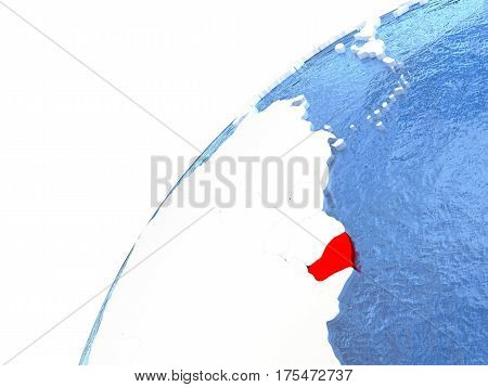 French Guiana On Metallic Globe With Blue Oceans