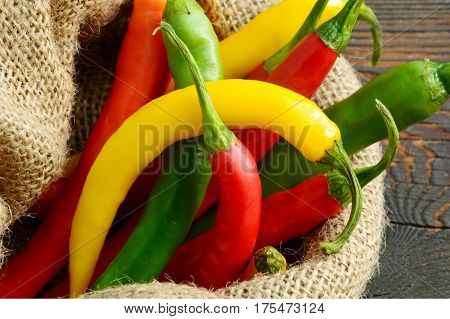 Mixed Colorful of Cayenne in sack bag