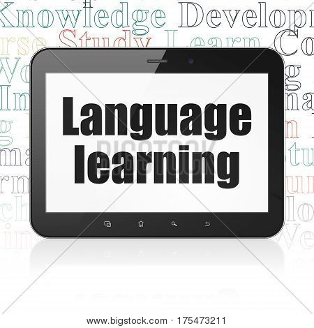 Studying concept: Tablet Computer with  black text Language Learning on display,  Tag Cloud background, 3D rendering