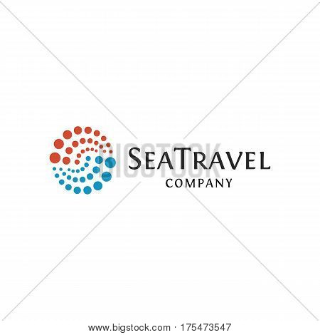 Isolated abstract blue and red color round shape logo, sea travel logotype of dots on white background, dotted swirl element vector illustration