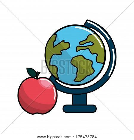 earth planet desk and apple icon, vector illustraction design