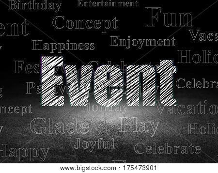 Entertainment, concept: Glowing text Event in grunge dark room with Dirty Floor, black background with  Tag Cloud