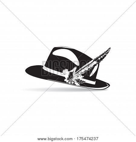 Vector illustration of hunting hat with feather and metal badge with blackcock oak leaves and acorns. Black and white flat style design