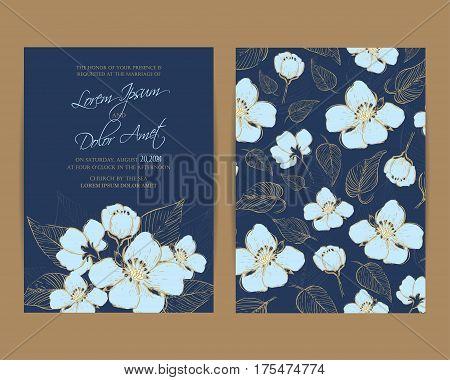 Wedding Invitation card. Floral Background. Vintage Style